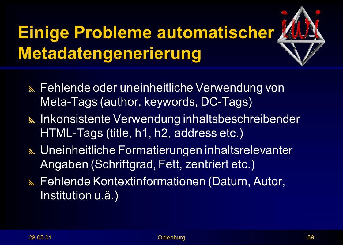 28.05.01Oldenburg59 Einige Probleme automatischer Metadatengenerierung  Fehlende oder uneinheitliche Verwendung von Meta-Tags (author, keywords, DC-Tags)  Inkonsistente Verwendung inhaltsbeschreibender HTML-Tags (title, h1, h2, address etc.)  Uneinheitliche Formatierungen inhaltsrelevanter Angaben (Schriftgrad, Fett, zentriert etc.)  Fehlende Kontextinformationen (Datum, Autor, Institution u.ä.)