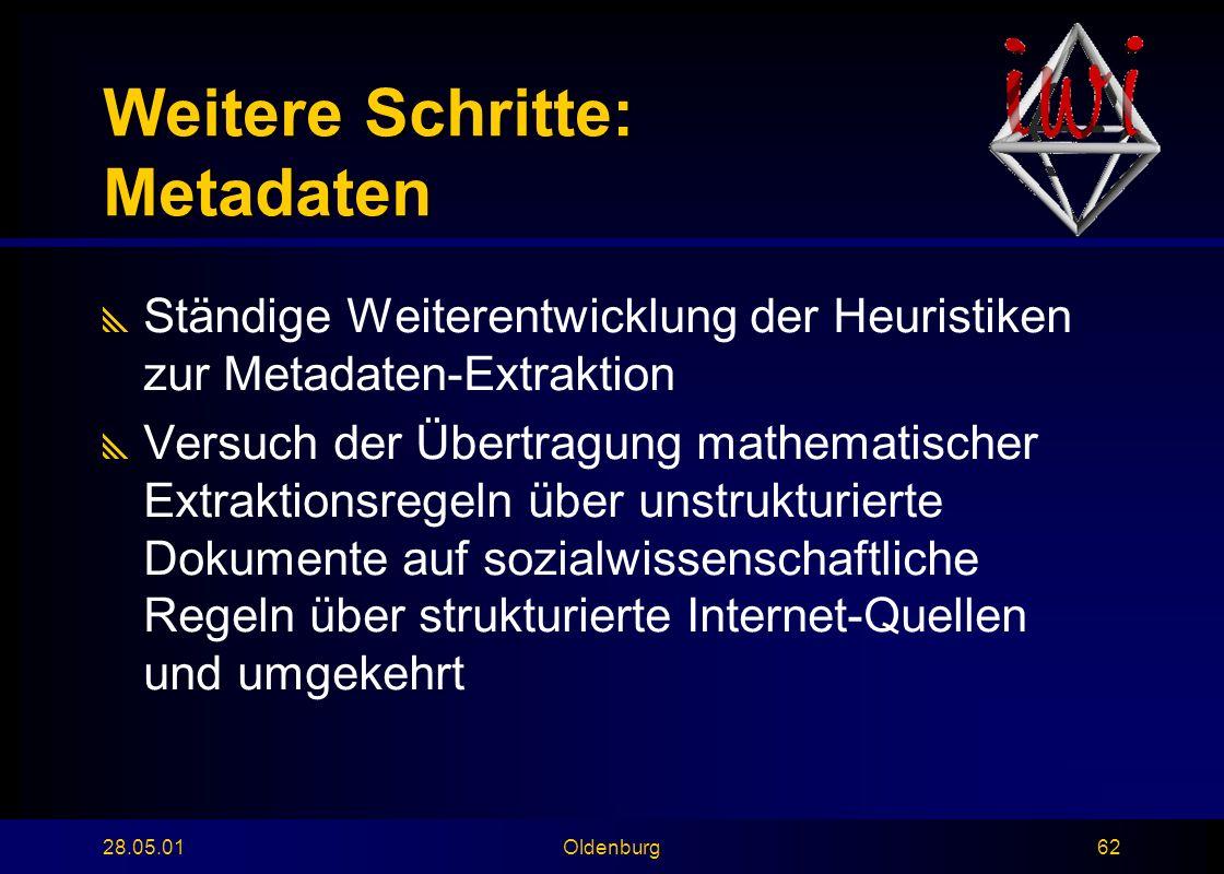 28.05.01Oldenburg62 Weitere Schritte: Metadaten  Ständige Weiterentwicklung der Heuristiken zur Metadaten-Extraktion  Versuch der Übertragung mathematischer Extraktionsregeln über unstrukturierte Dokumente auf sozialwissenschaftliche Regeln über strukturierte Internet-Quellen und umgekehrt