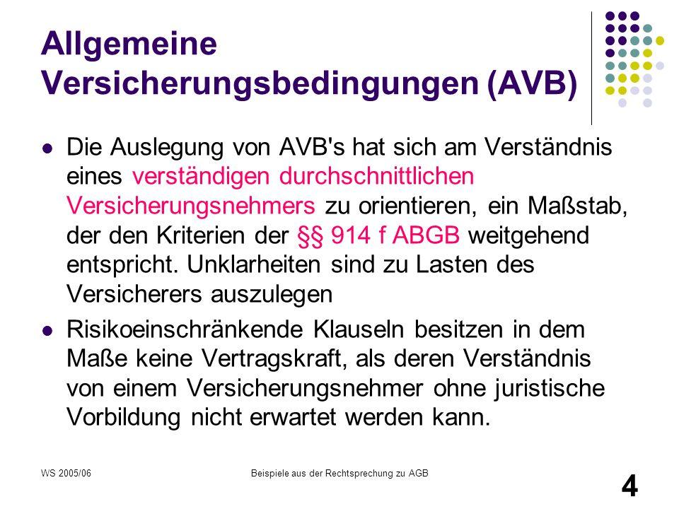 WS 2005/06Beispiele aus der Rechtsprechung zu AGB 4 Allgemeine Versicherungsbedingungen (AVB) Die Auslegung von AVB's hat sich am Verständnis eines ve