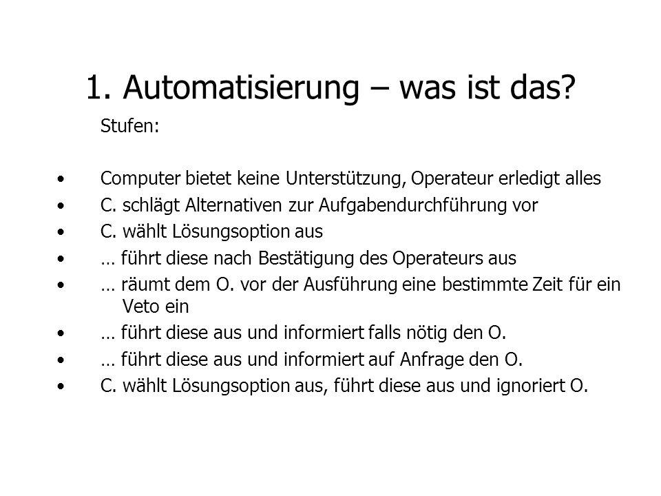 Stufen: Computer bietet keine Unterstützung, Operateur erledigt alles C. schlägt Alternativen zur Aufgabendurchführung vor C. wählt Lösungsoption aus