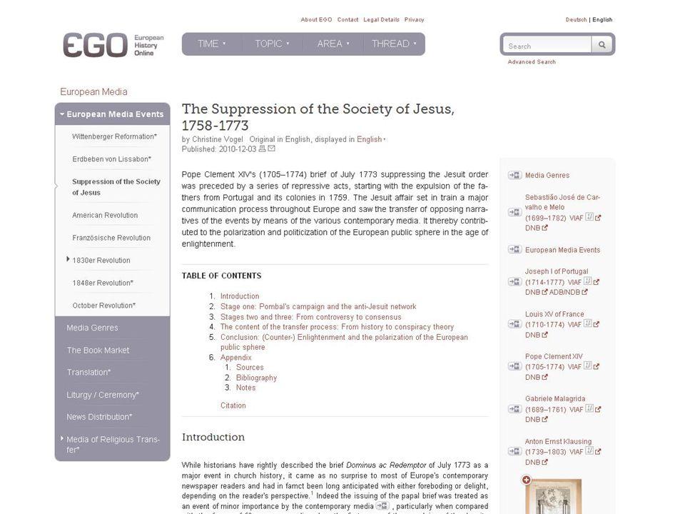 EGO | European History Online www.ieg-ego.eu ACTUALITY DEVELOPMENT