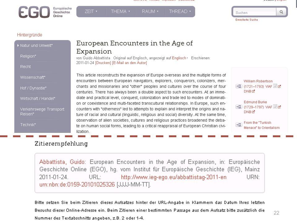 Prof. Dr. Irene Dingel EGO  Europäische Geschichte Online Prof. Dr. Irene Dingel EGO  Europäische Geschichte Online Zitierempfehlung 22