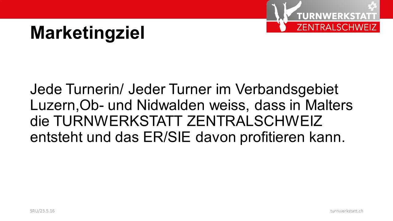 Marketingziel Jede Turnerin/ Jeder Turner im Verbandsgebiet Luzern,Ob- und Nidwalden weiss, dass in Malters die TURNWERKSTATT ZENTRALSCHWEIZ entsteht und das ER/SIE davon profitieren kann.