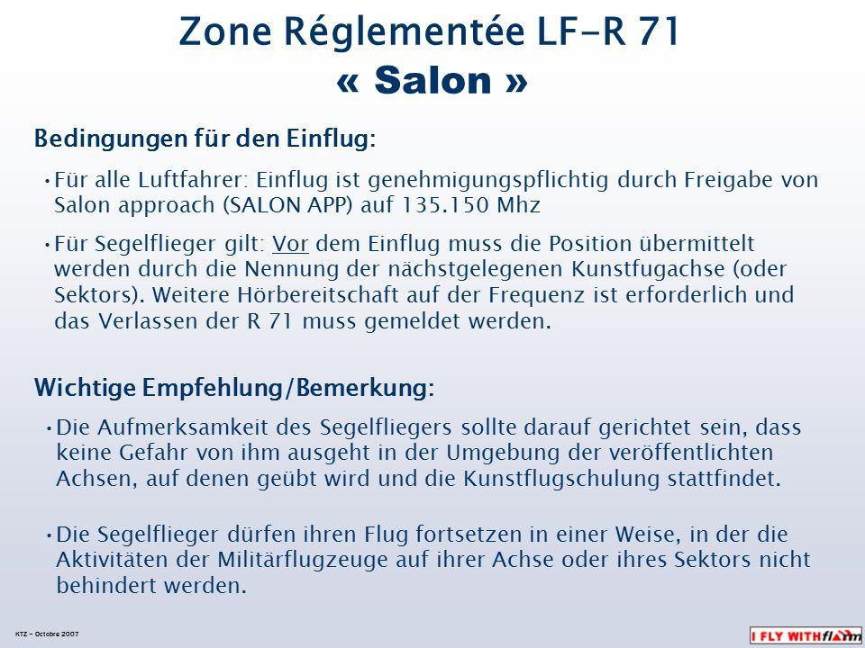 LF-R 71 « Salon » Aufteilung der Arbeitssektoren (der Contoler in Salon) Der sogenannte « Local immédiat » de Vinon (10 km Radius) Befindet sich unter