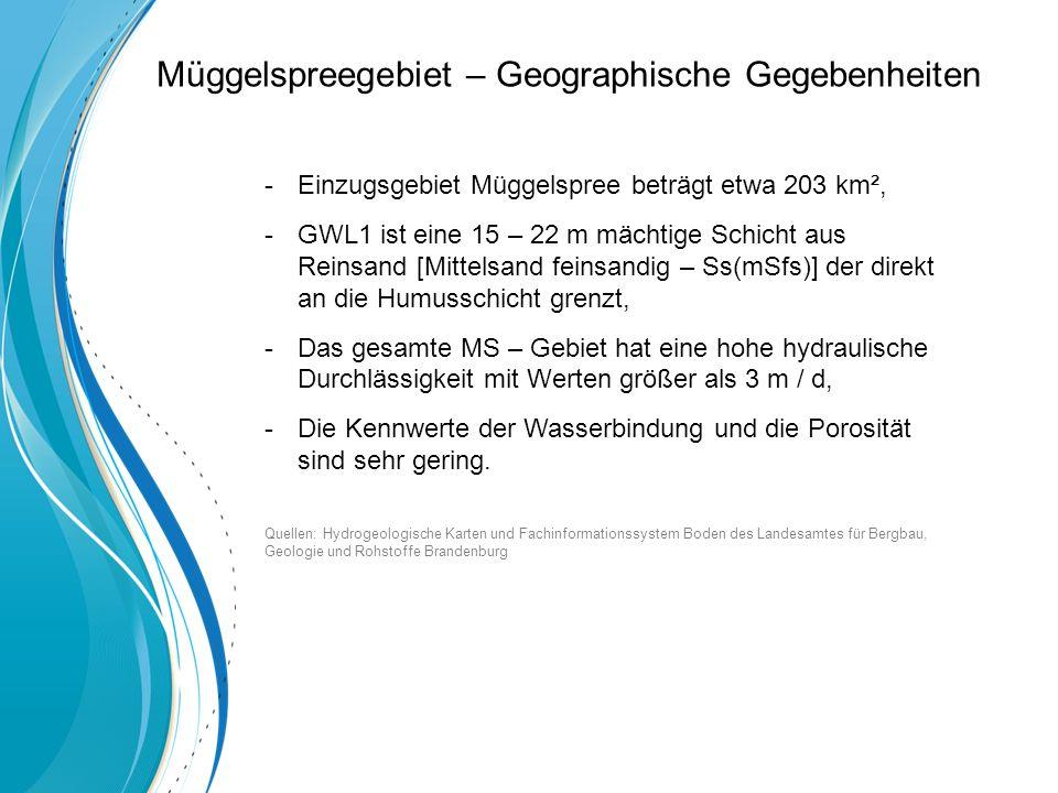-Einzugsgebiet Müggelspree beträgt etwa 203 km², -GWL1 ist eine 15 – 22 m mächtige Schicht aus Reinsand [Mittelsand feinsandig – Ss(mSfs)] der direkt an die Humusschicht grenzt, -Das gesamte MS – Gebiet hat eine hohe hydraulische Durchlässigkeit mit Werten größer als 3 m / d, -Die Kennwerte der Wasserbindung und die Porosität sind sehr gering.