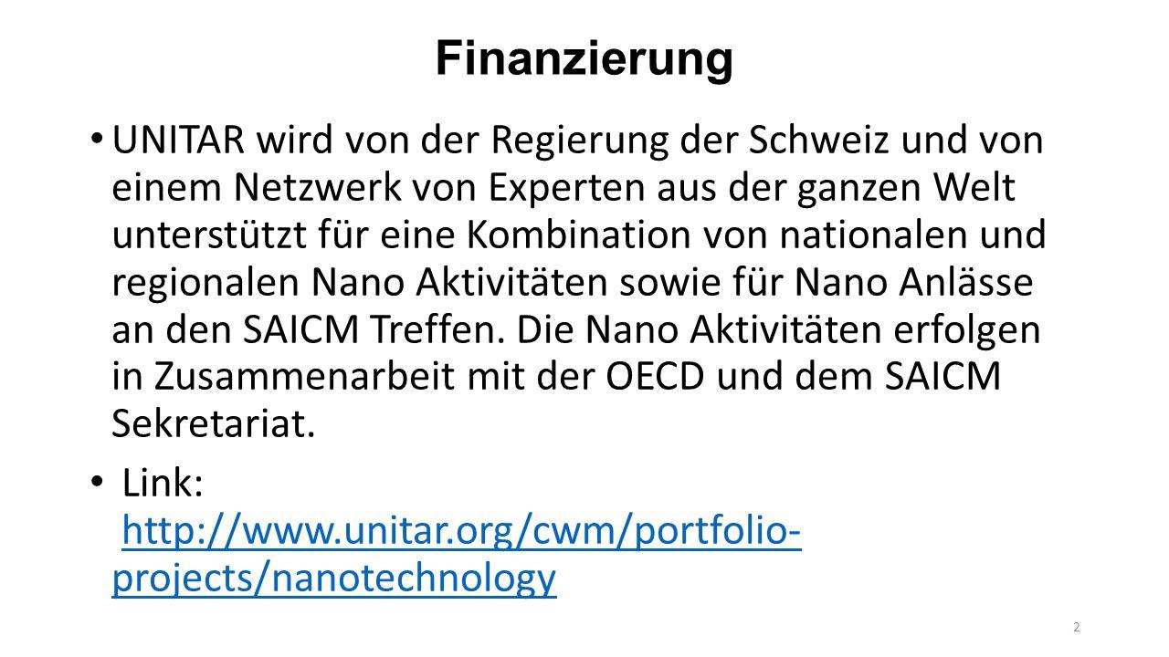 Geschichte 1 2008 IFCS Dakar Statement on Manufactured Nanomaterials 2009 ICCM-2 Nano Resolution II/4-E 2009 -2010 Umsetzung von II/4-E:  Partnerschaft UNITAR – OECD  Regionalen Sensibilisierungsworkshops in Beijing, Lodz (Polen), Abidjan (Elfenbeinküste), Kingston (Jamaika), Alexandria (Ägypten).