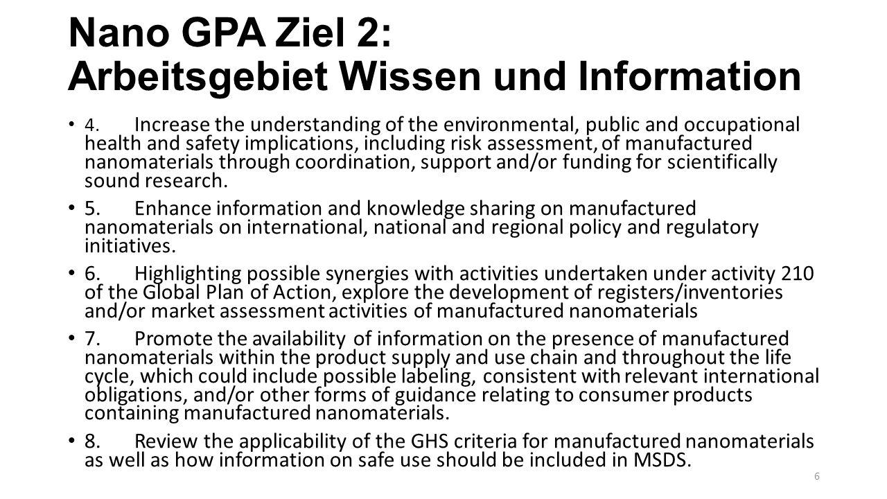 Nano GPA Ziel 2: Arbeitsgebiet Wissen und Information 4.