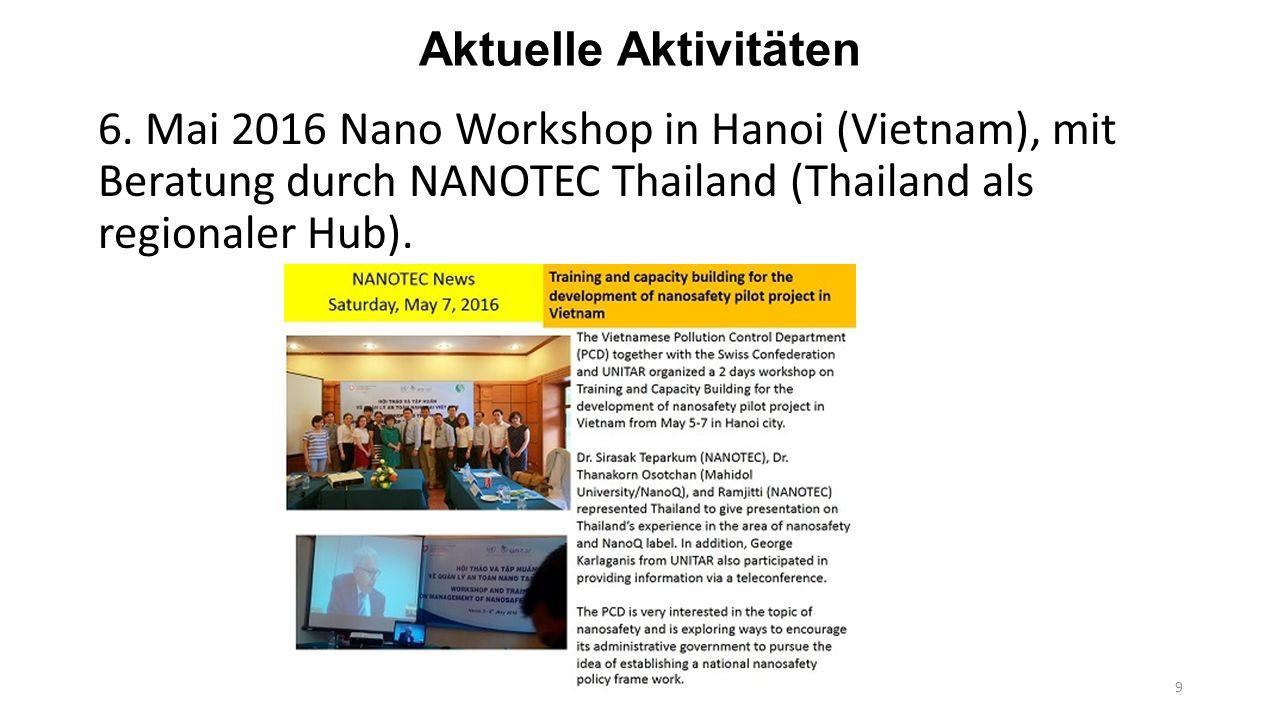 Zukünftige Aktivitäten von UNITAR Sommer 2016: Ein wichtiges Ergebnis aus den regionalen Workshops 2015 ist die Verbesserung der regionalen Vernetzung und der regionalen Zusammenarbeit zwischen den Nano Beteiligten.