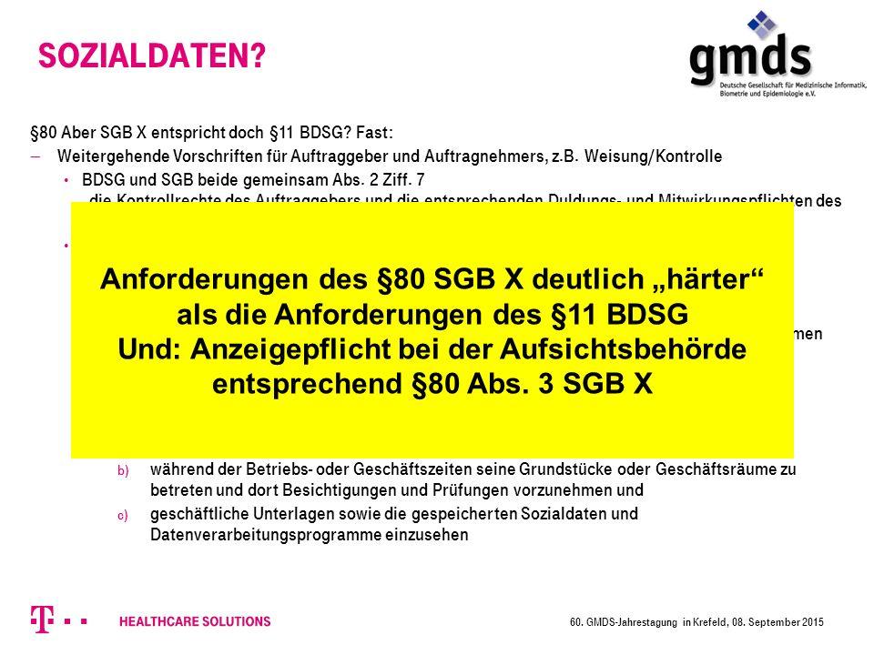 Sozialdaten. §80 Aber SGB X entspricht doch §11 BDSG.