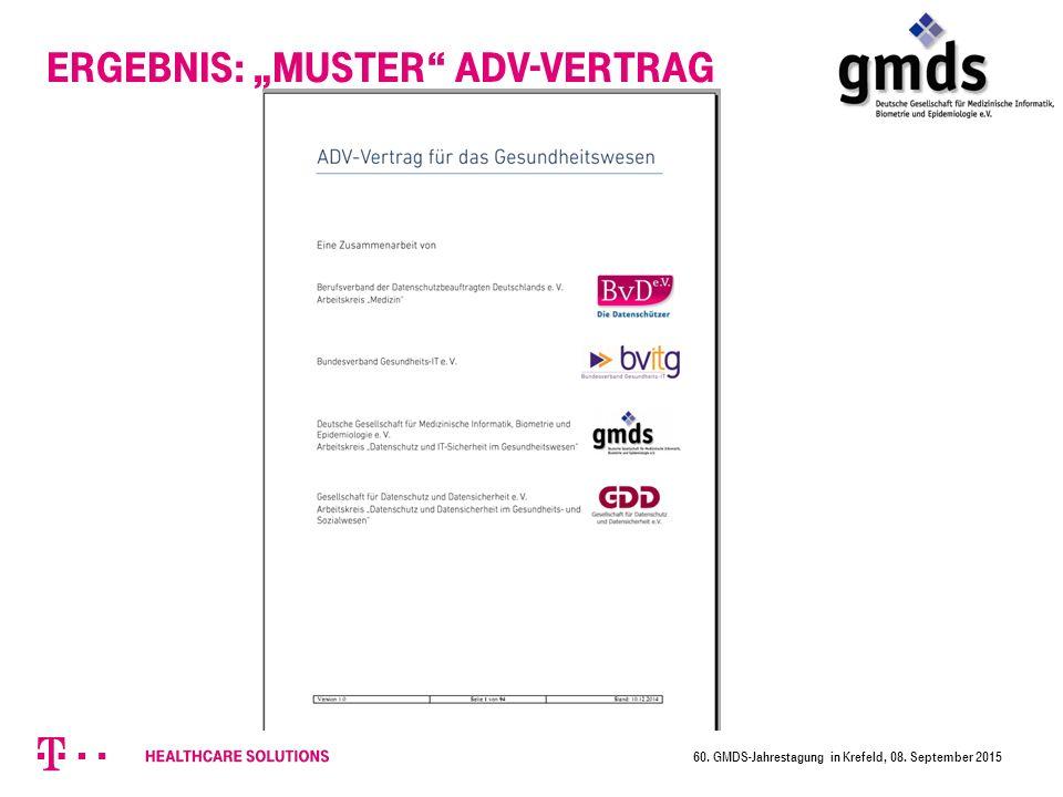 """Ergebnis: """"Muster ADV-Vertrag 60. GMDS-Jahrestagung in Krefeld, 08. September 2015"""