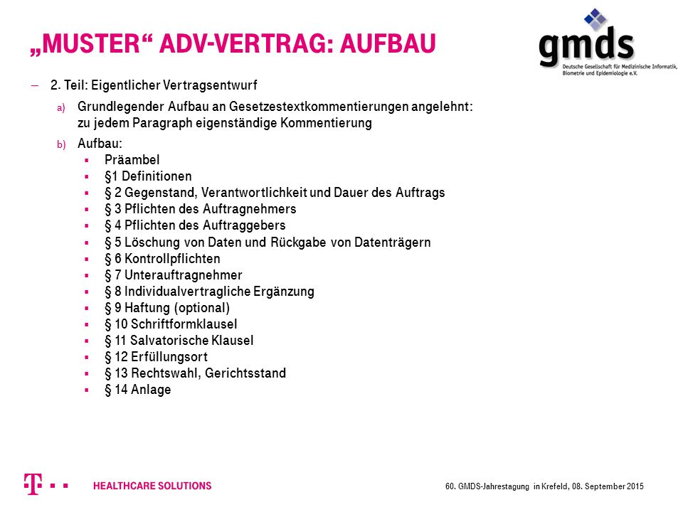 """Muster ADV-Vertrag: Aufbau  2."