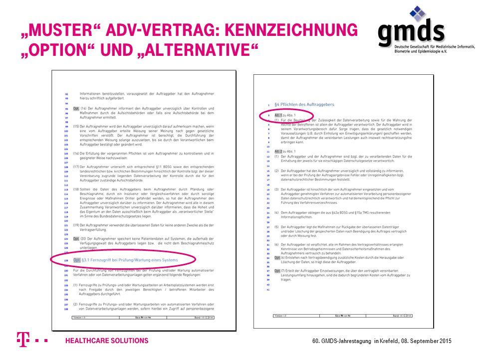 """""""Muster ADV-Vertrag: Kennzeichnung """"Option und """"Alternative 60."""