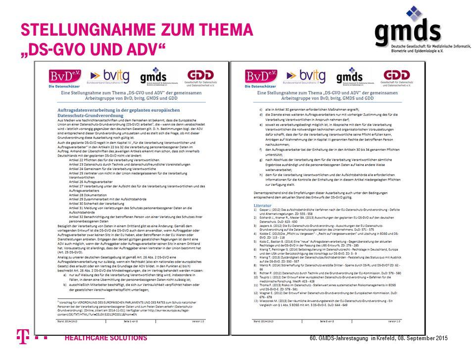 """Stellungnahme zum Thema """"DS-GVO und ADV 60. GMDS-Jahrestagung in Krefeld, 08. September 2015"""