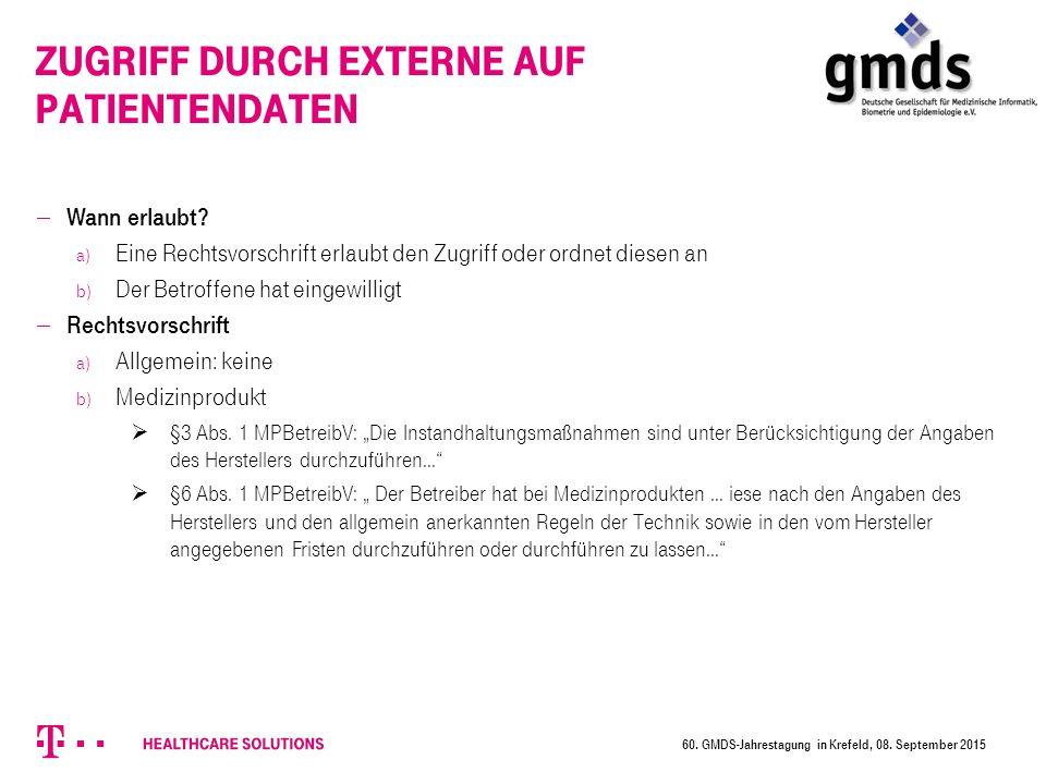 60.GMDS-Jahrestagung in Krefeld, 08.