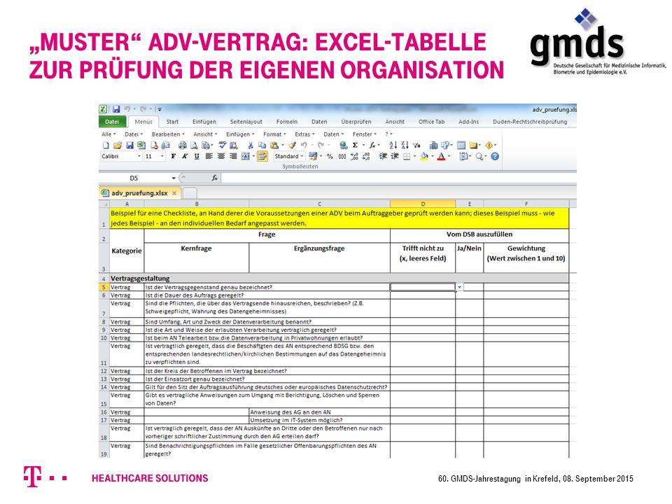 """""""Muster ADV-Vertrag: Excel-Tabelle zur Prüfung der eigenen Organisation 60."""