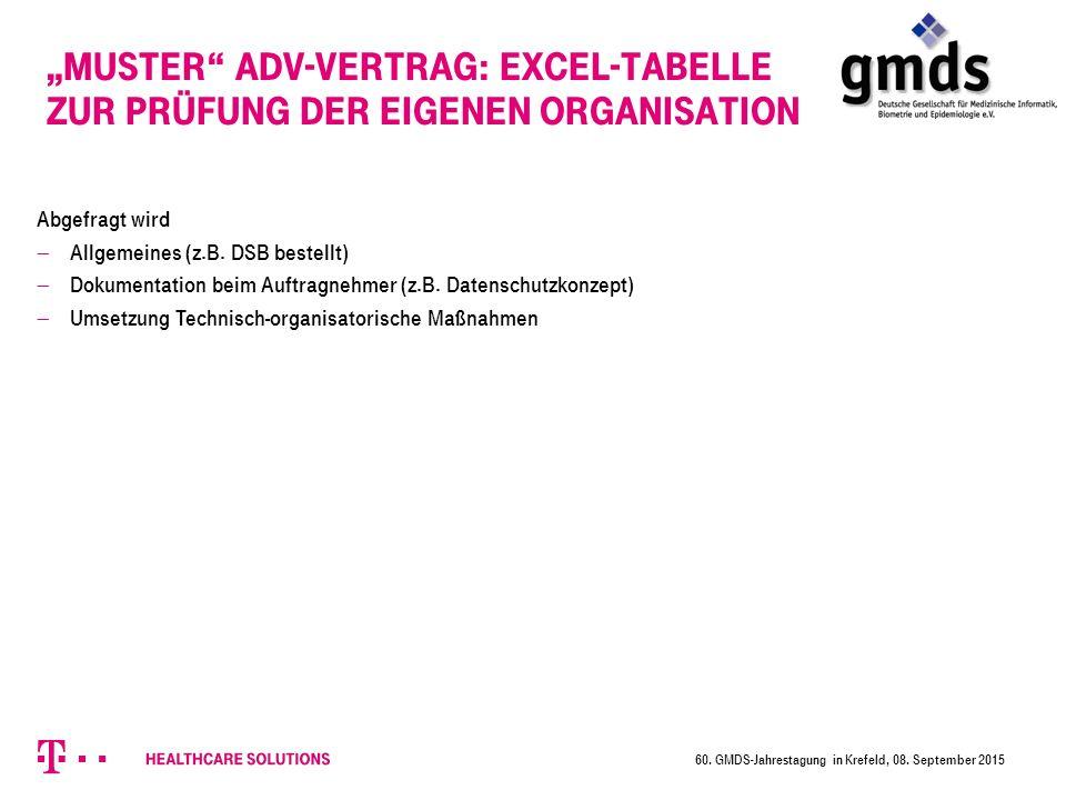 Abgefragt wird  Allgemeines (z.B.DSB bestellt)  Dokumentation beim Auftragnehmer (z.B.