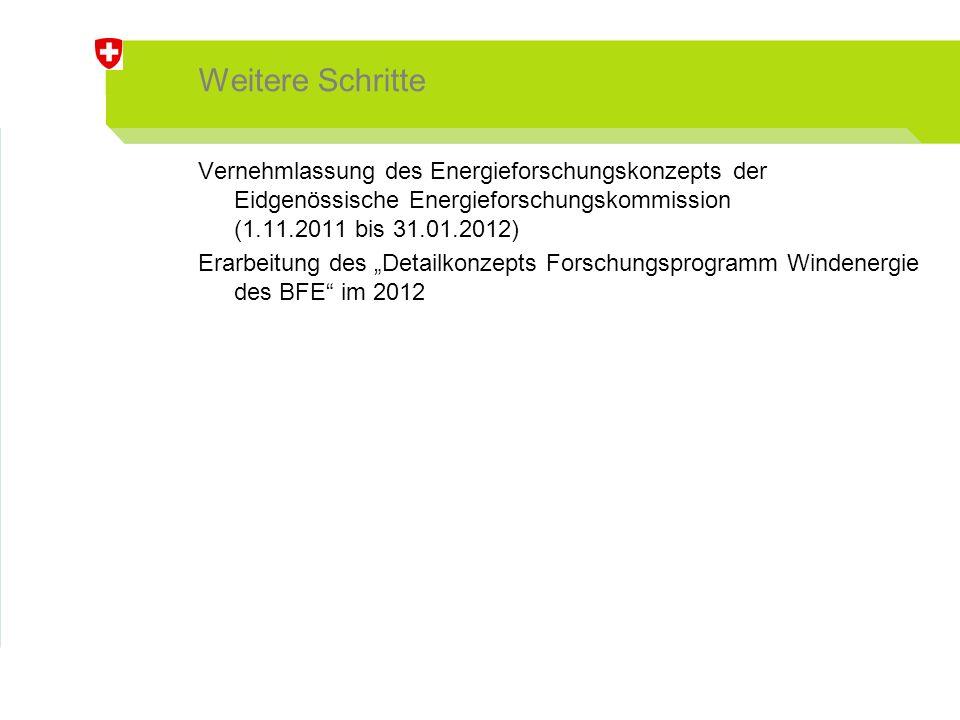 """Weitere Schritte Vernehmlassung des Energieforschungskonzepts der Eidgenössische Energieforschungskommission (1.11.2011 bis 31.01.2012) Erarbeitung des """"Detailkonzepts Forschungsprogramm Windenergie des BFE im 2012"""