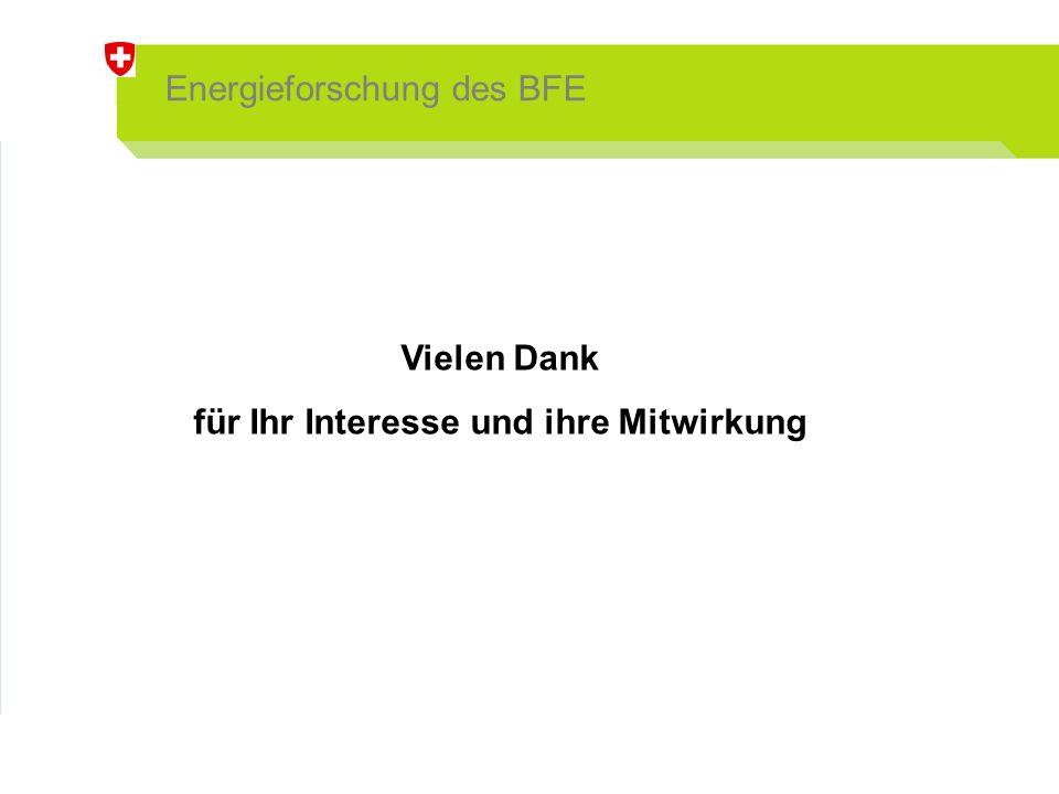 Energieforschung des BFE Vielen Dank für Ihr Interesse und ihre Mitwirkung
