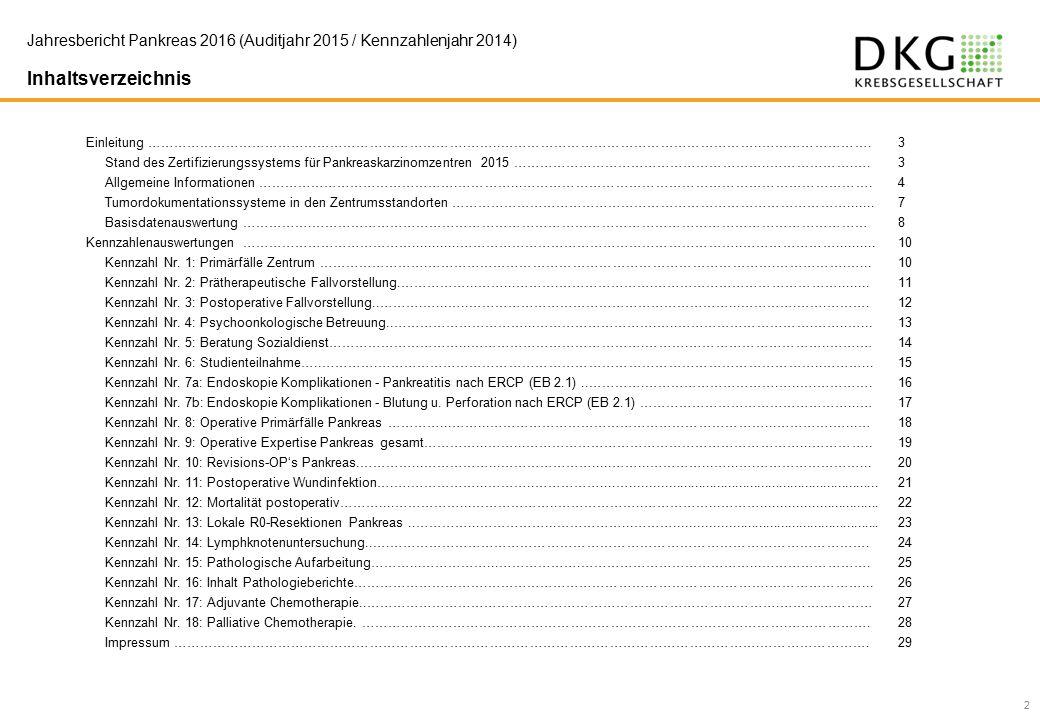Jahresbericht Pankreas 2016 (Auditjahr 2015 / Kennzahlenjahr 2014) Inhaltsverzeichnis 2 Einleitung ……………………………………………………………….……..…………………………………………………..…………………….