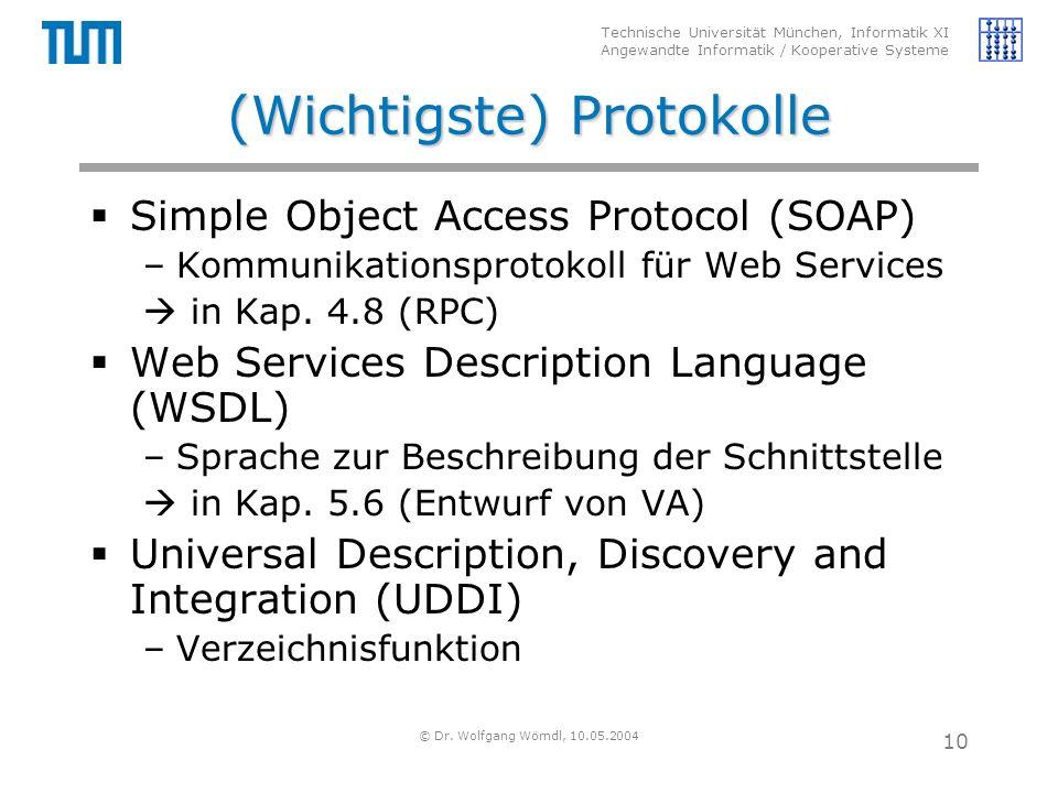 Technische Universität München, Informatik XI Angewandte Informatik / Kooperative Systeme © Dr. Wolfgang Wörndl, 10.05.2004 10 (Wichtigste) Protokolle
