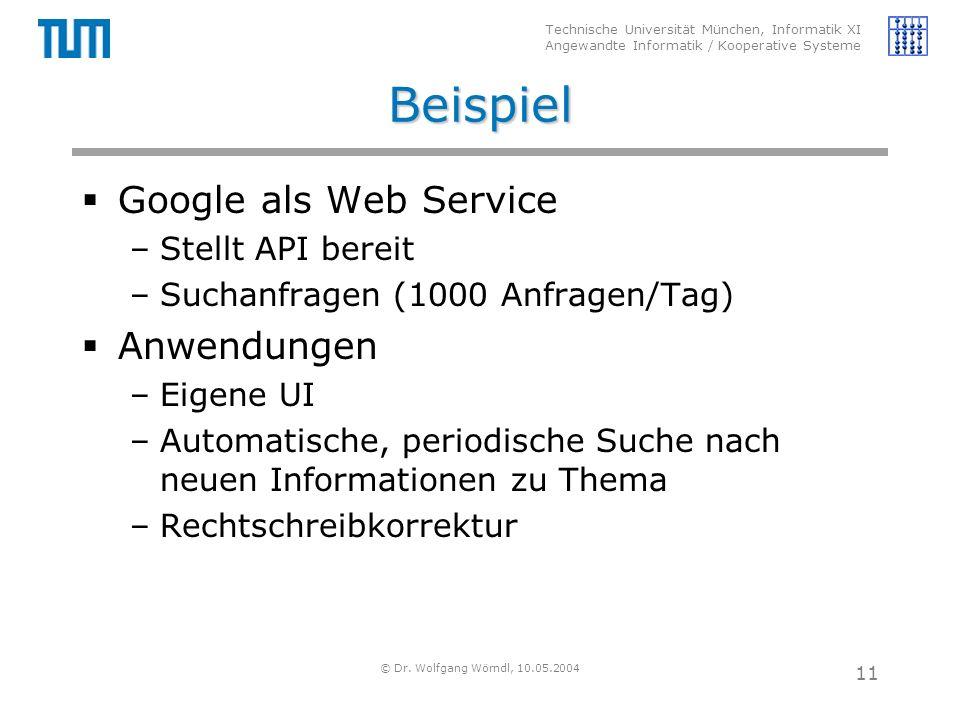 Technische Universität München, Informatik XI Angewandte Informatik / Kooperative Systeme © Dr. Wolfgang Wörndl, 10.05.2004 11 Beispiel  Google als W