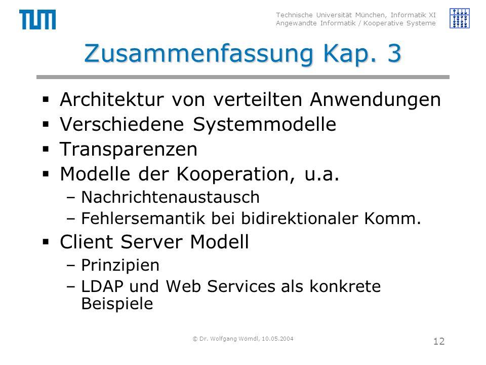 Technische Universität München, Informatik XI Angewandte Informatik / Kooperative Systeme © Dr. Wolfgang Wörndl, 10.05.2004 12 Zusammenfassung Kap. 3
