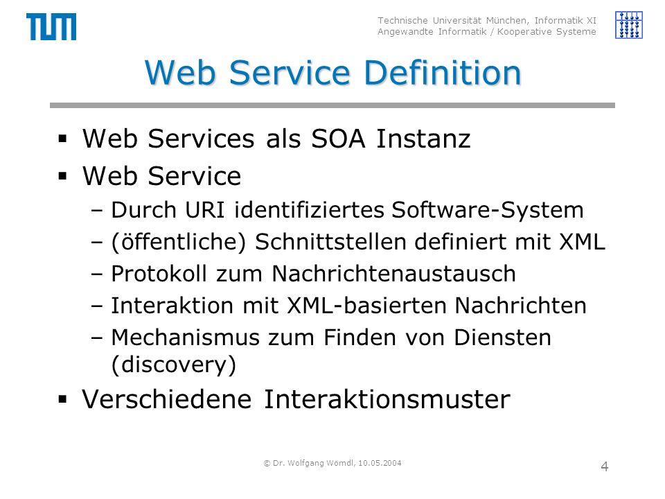 Technische Universität München, Informatik XI Angewandte Informatik / Kooperative Systeme © Dr. Wolfgang Wörndl, 10.05.2004 4 Web Service Definition 