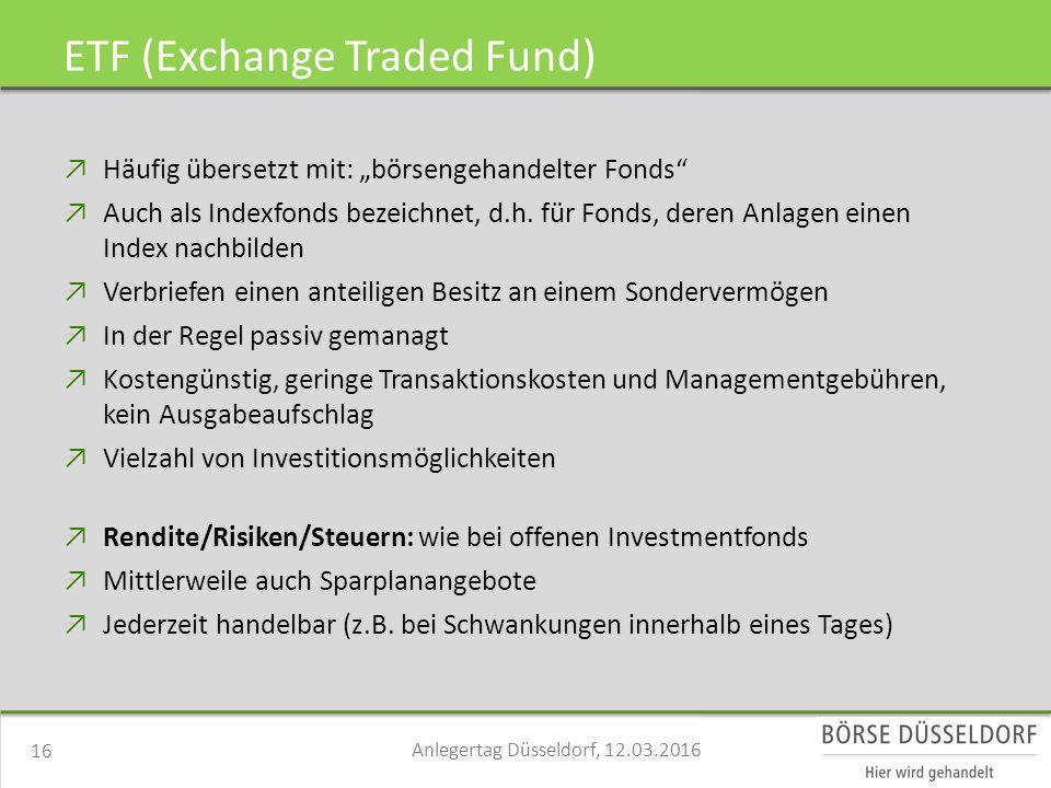 """ETF (Exchange Traded Fund) ↗Häufig übersetzt mit: """"börsengehandelter Fonds ↗Auch als Indexfonds bezeichnet, d.h."""