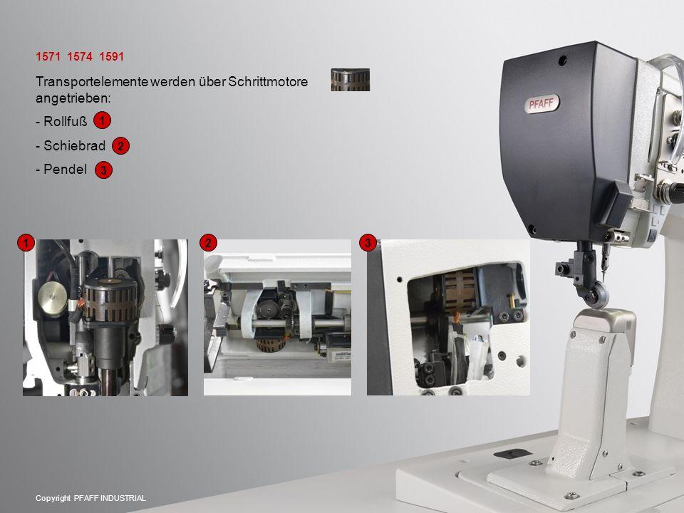 Copyright PFAFF INDUSTRIAL Transportelemente werden über Schrittmotore angetrieben: - Rollfuß - Schiebrad - Pendel 1571 1574 1591 123123