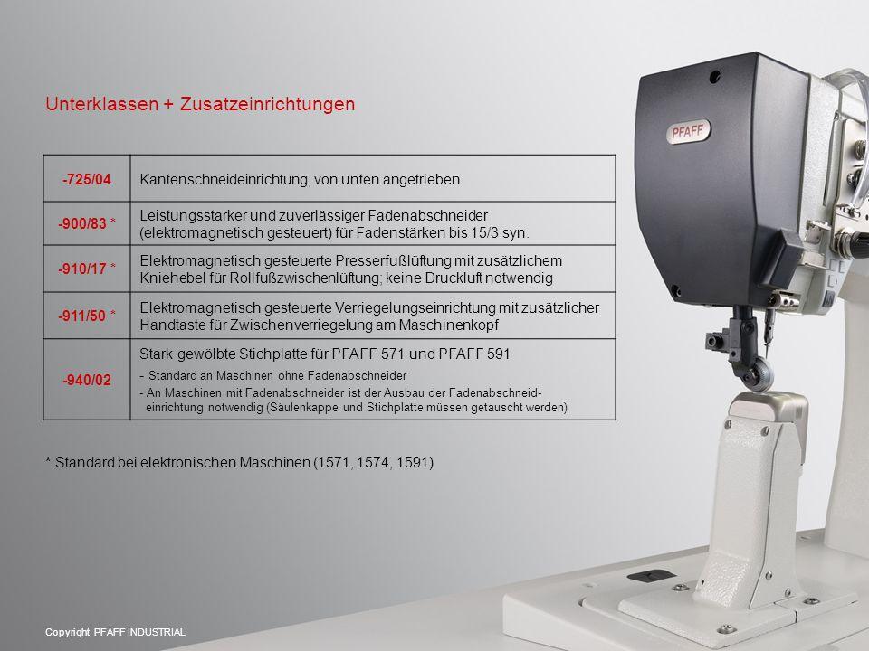 Copyright PFAFF INDUSTRIAL -725/04Kantenschneideinrichtung, von unten angetrieben -900/83 * Leistungsstarker und zuverlässiger Fadenabschneider (elektromagnetisch gesteuert) für Fadenstärken bis 15/3 syn.
