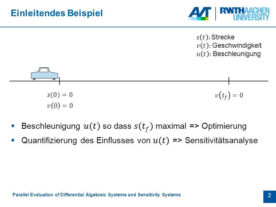 13 Bewertungskriterien Parallel Evaluation of Differential Algebraic Systems and Sensitivity Systems  Grad der Parallelisierung  Redundanz  Overhead  Workload Balance  Speicheranforderungen  Aufwand der Implementierung