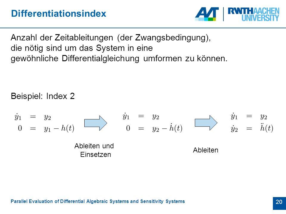 20 Differentiationsindex Anzahl der Zeitableitungen (der Zwangsbedingung), die nötig sind um das System in eine gewöhnliche Differentialgleichung umformen zu können.