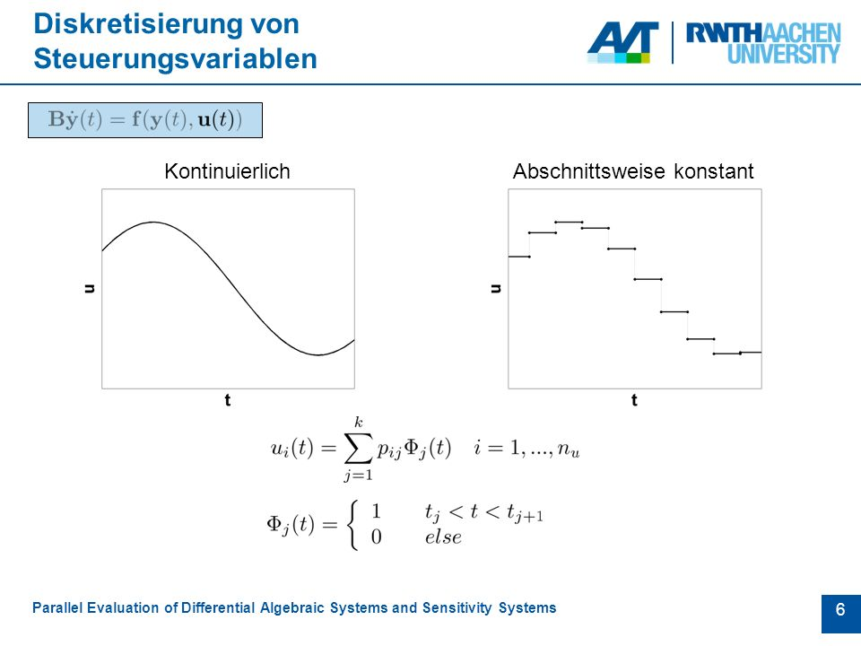 6 Diskretisierung von Steuerungsvariablen Parallel Evaluation of Differential Algebraic Systems and Sensitivity Systems KontinuierlichAbschnittsweise konstant