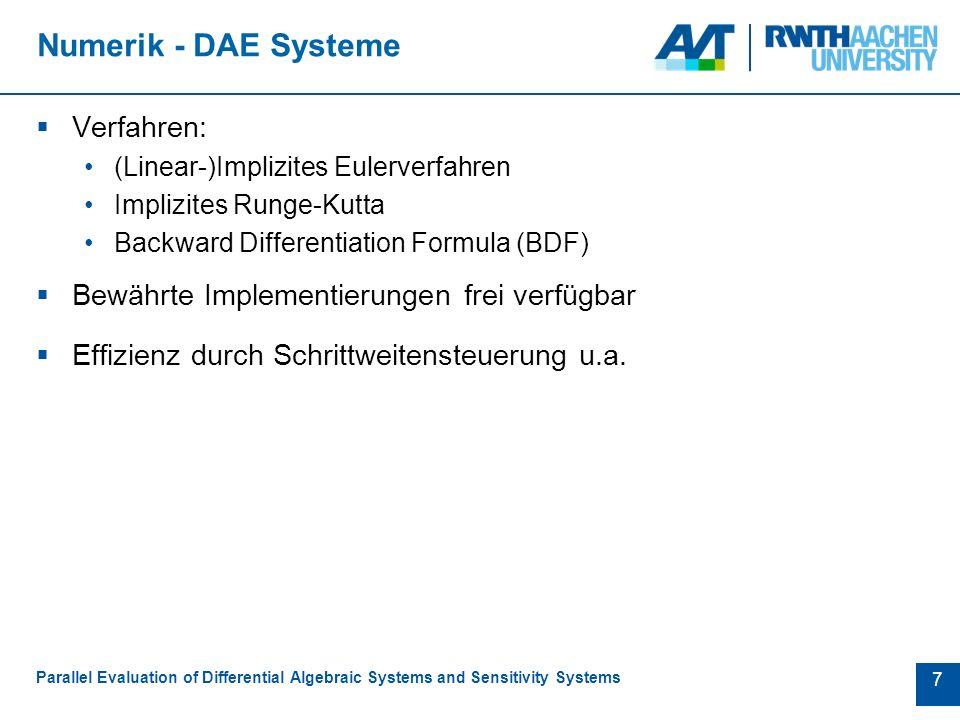 8 Sensitivitätsanalyse Parallel Evaluation of Differential Algebraic Systems and Sensitivity Systems Sensitivitäten Berechnung durch  Finite Differenzen  Adjungiertensysteme  Ableitung des DAE Systems Abgeleitete Systeme: