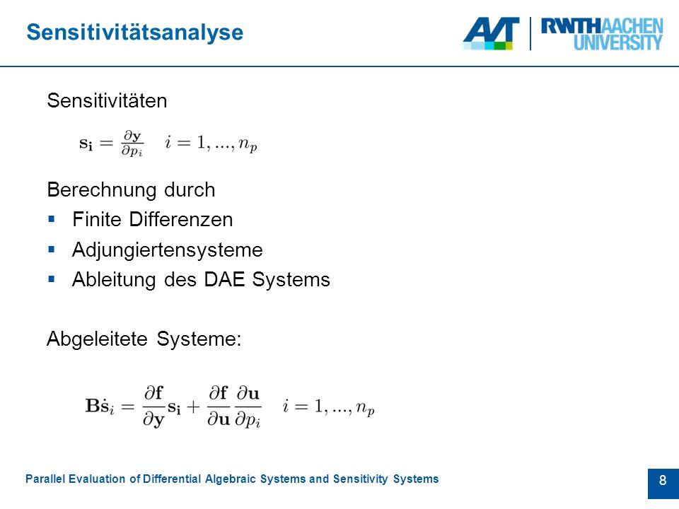 9 Kombiniertes System Parallel Evaluation of Differential Algebraic Systems and Sensitivity Systems  Lösung mit Hilfe von Erweiterungen der Integrationsroutinen  Ausnutzen von Struktur => gesteigerte Effizienz  Fehlerkontrolle nur bei ursprünglichem System