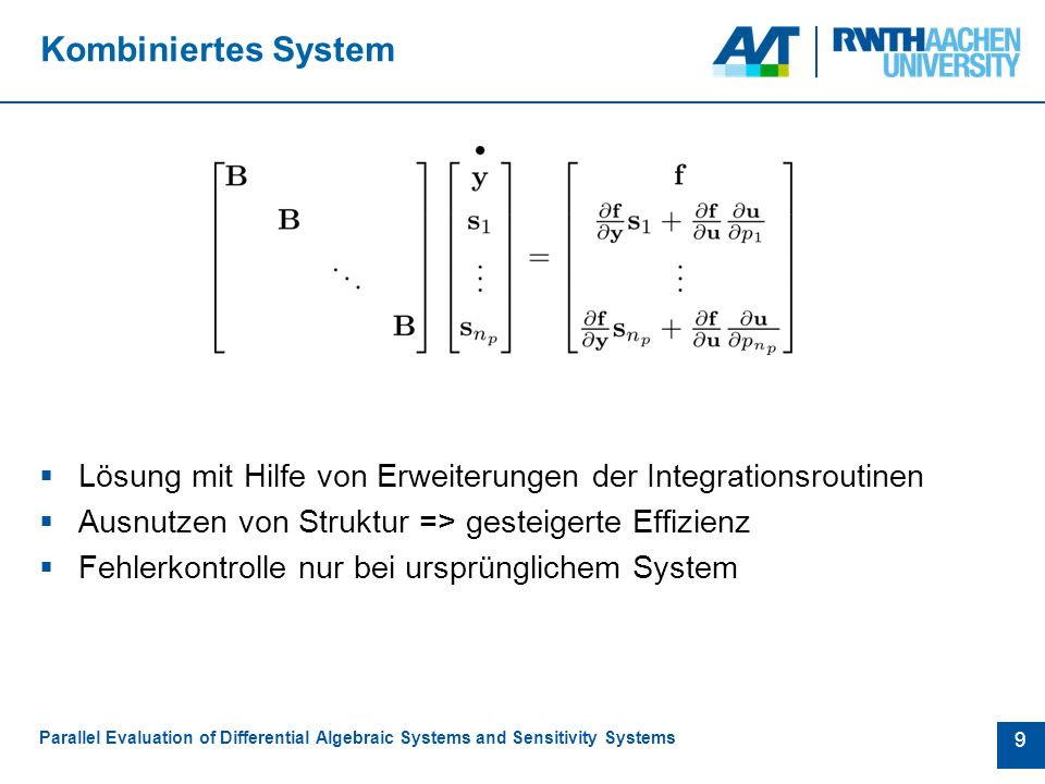 10 Analyse der Programmstruktur Parallel Evaluation of Differential Algebraic Systems and Sensitivity Systems Wahl der Parameter Sensitivitäts- analyse ESO Schnittstelle  Equation Set Object  Standardisiertes Interface  Liefert Modell (z.B.