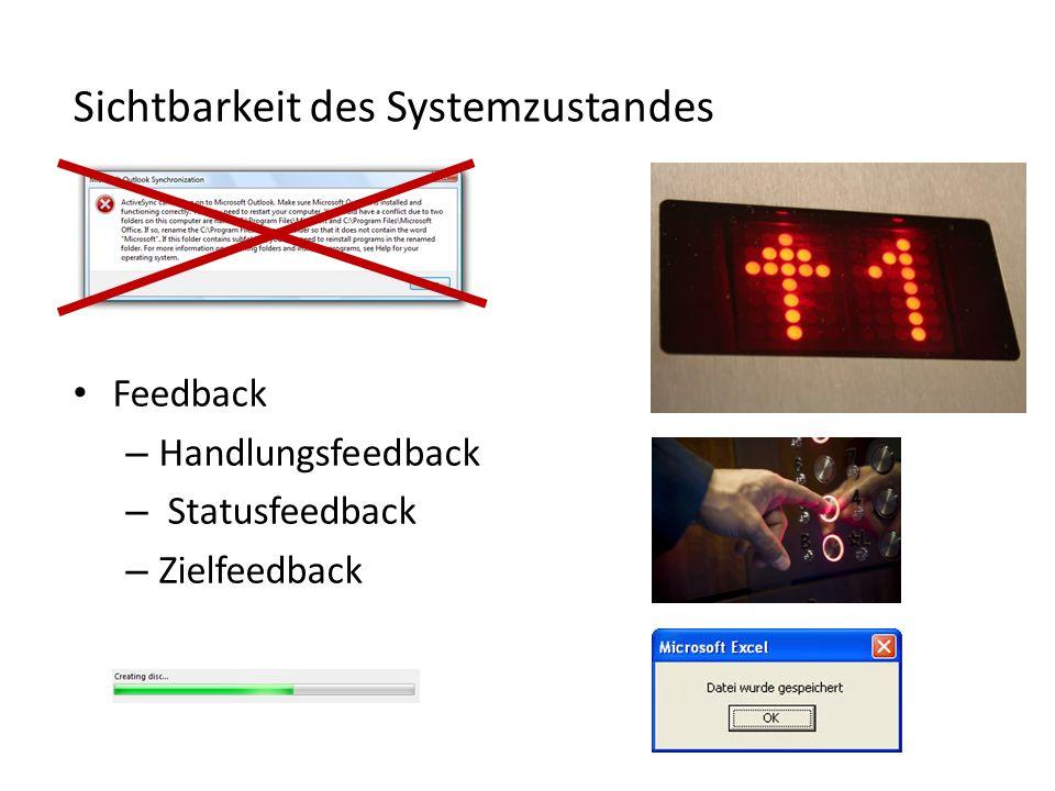 Sichtbarkeit des Systemzustandes Feedback – Handlungsfeedback – Statusfeedback – Zielfeedback