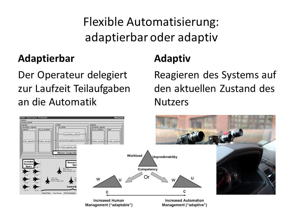 Flexible Automatisierung: adaptierbar oder adaptiv Adaptierbar Der Operateur delegiert zur Laufzeit Teilaufgaben an die Automatik Adaptiv Reagieren des Systems auf den aktuellen Zustand des Nutzers