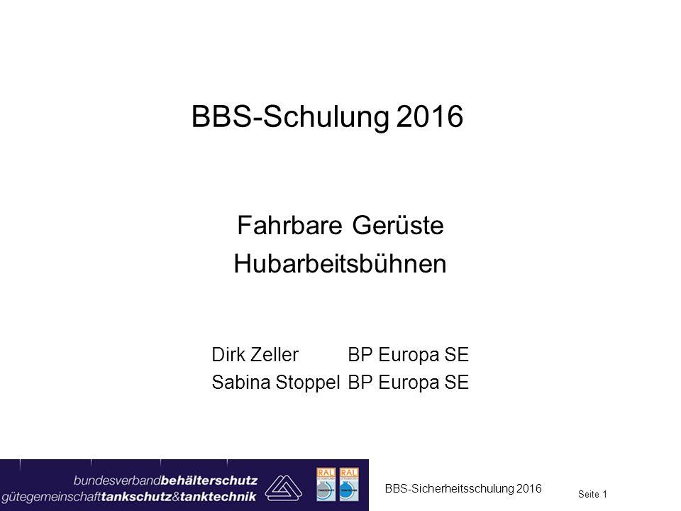 Hubarbeitsbühnen BBS-Sicherheitsschulung 2016 Seite 22 Scherenbühne