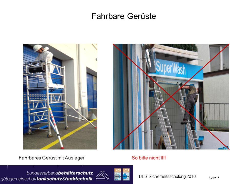 Vorfall fahrbares Gerüst 2 BBS-Sicherheitsschulung 2016 Seite 16 Ein Maler wollte die Rückseite eines Shopgebäudes streichen.