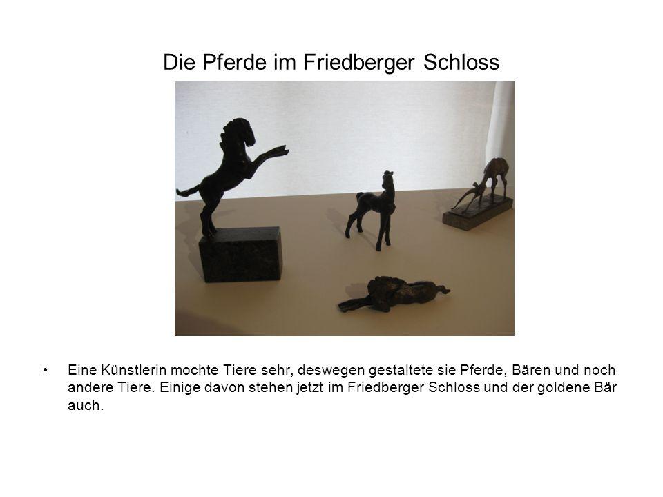 Die Pferde im Friedberger Schloss Eine Künstlerin mochte Tiere sehr, deswegen gestaltete sie Pferde, Bären und noch andere Tiere.