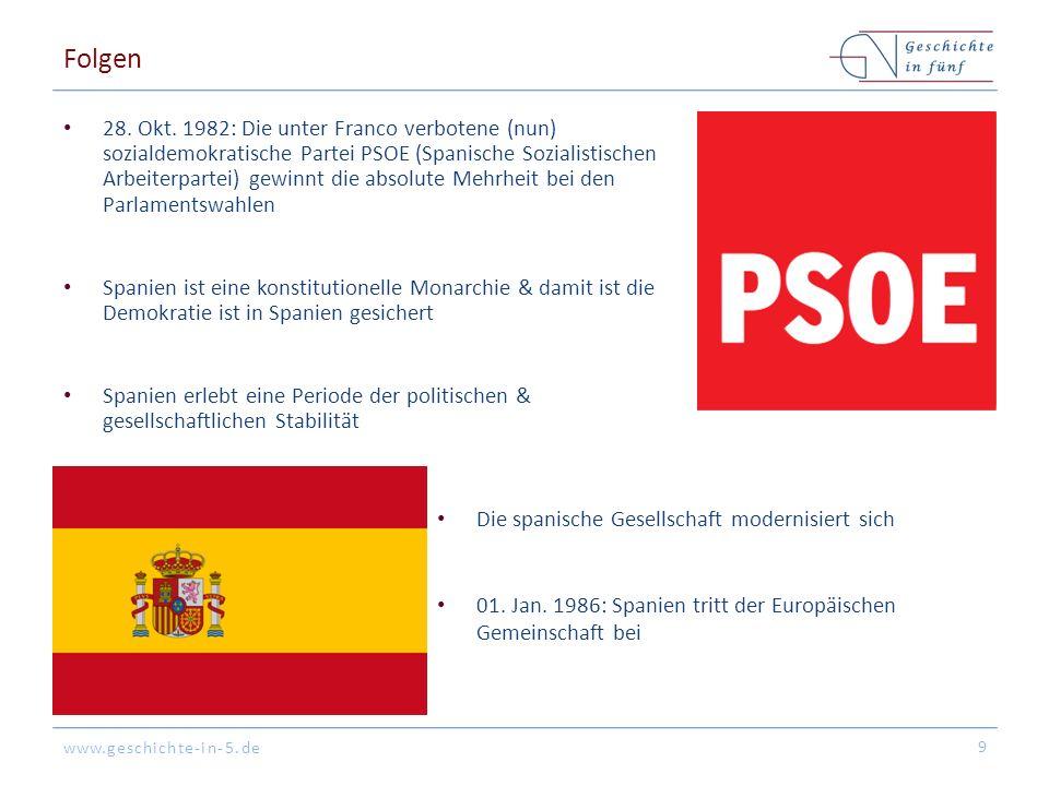 www.geschichte-in-5.de Folgen 28. Okt. 1982: Die unter Franco verbotene (nun) sozialdemokratische Partei PSOE (Spanische Sozialistischen Arbeiterparte