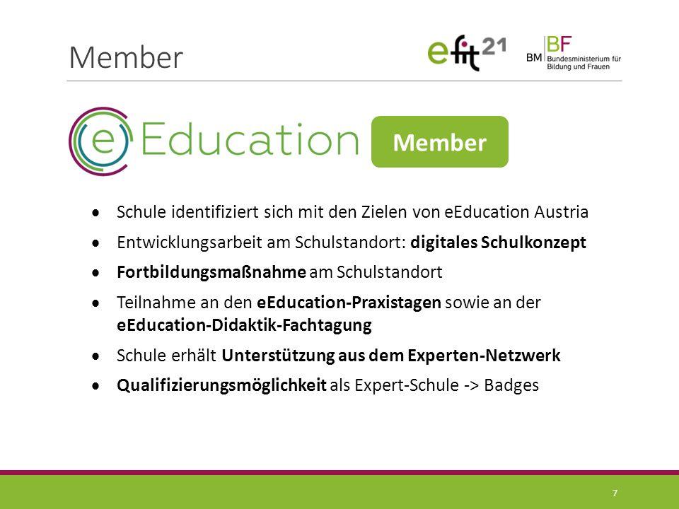 Qualifizierung 8 Antrag auf Mitgliedschaft digitales Schul- entwicklungskonzept Member laufende Aktivitäten Expert- Entwicklung laufende Aktivitäten Leistungsnachweise www.eEducation.at Leistungsnachweise www.eEducation.at Expert