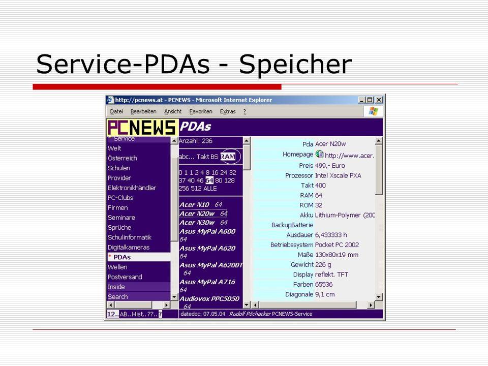 Service-PDAs - Speicher
