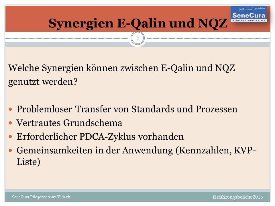 Betriebsrat Erfahrungsbericht 2013 SeneCura Pflegezentrum Villach 5 Welche Synergien können zwischen E-Qalin und NQZ genutzt werden.