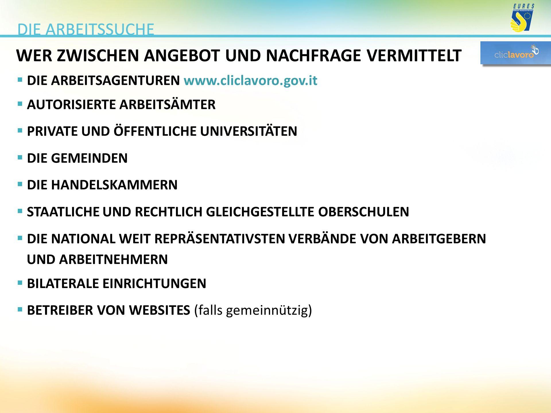 WER ZWISCHEN ANGEBOT UND NACHFRAGE VERMITTELT  DIE ARBEITSAGENTUREN www.cliclavoro.gov.it  AUTORISIERTE ARBEITSÄMTER  PRIVATE UND ÖFFENTLICHE UNIVE