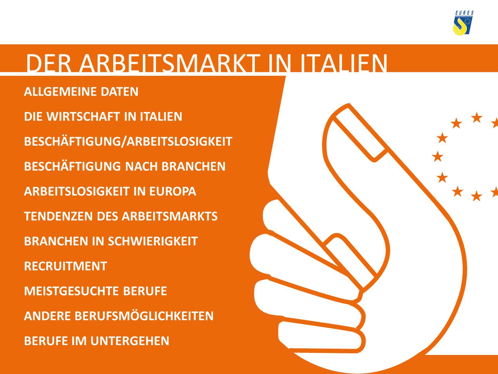 ALLGEMEINE DATEN HAUPTSTADT: Rom GRUNDFLÄCHE: 301, 336 Km 2 EINWOHNER: 60,045 Millionen WÄHRUNG: Euro AUSLÄNDER: 4,235 Millionen OFFIZIELLE LANDESSPRACHE: Italienisch POLITISCHES SYSTEM: Parlamentarische Republik REGIONEN: 20 PROVINZEN: 107 WICHTIGESTÄDTE: Mailand, Turin, Bologna, Genua, Neapel
