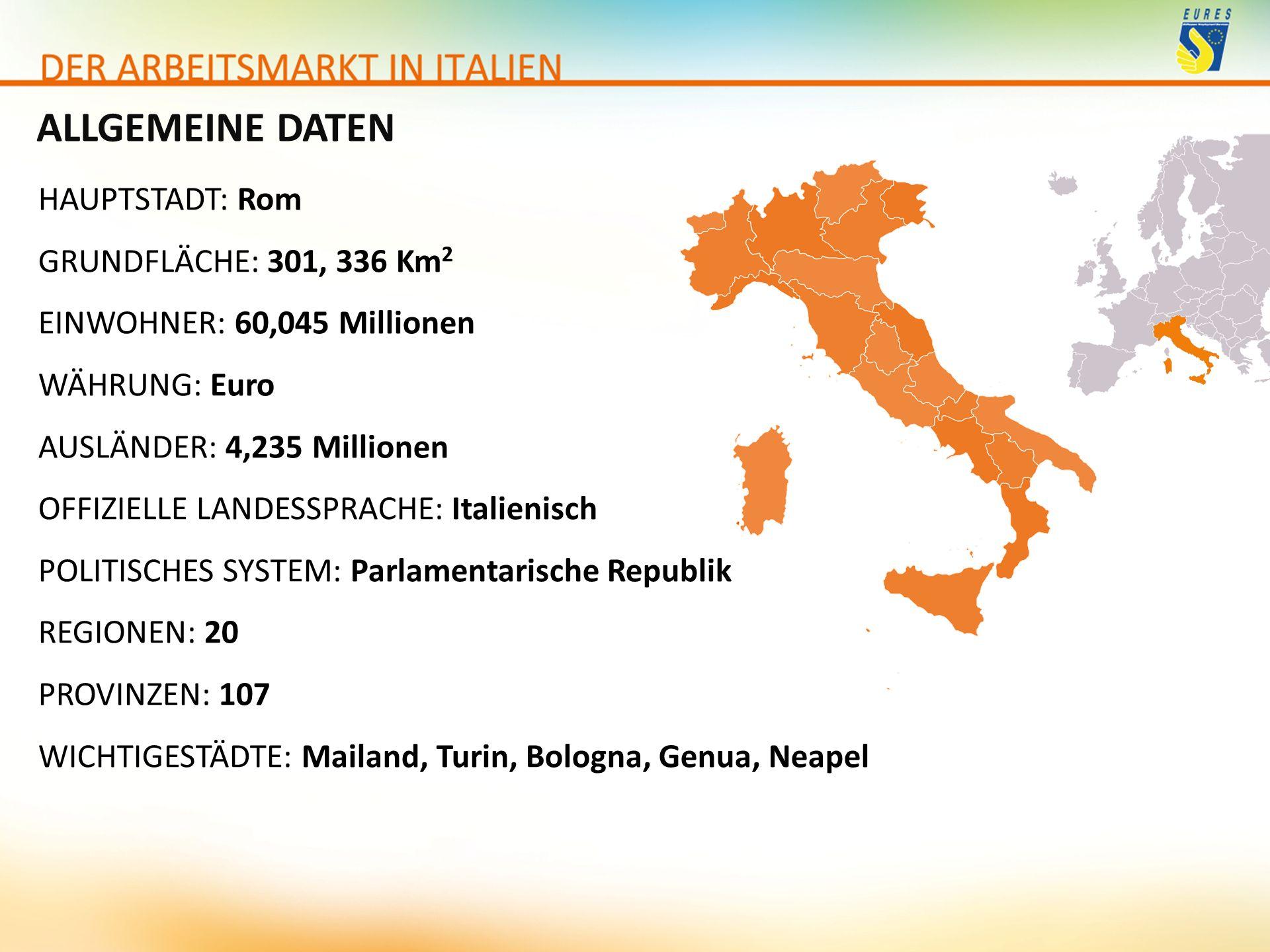 ALLGEMEINE DATEN HAUPTSTADT: Rom GRUNDFLÄCHE: 301, 336 Km 2 EINWOHNER: 60,045 Millionen WÄHRUNG: Euro AUSLÄNDER: 4,235 Millionen OFFIZIELLE LANDESSPRA