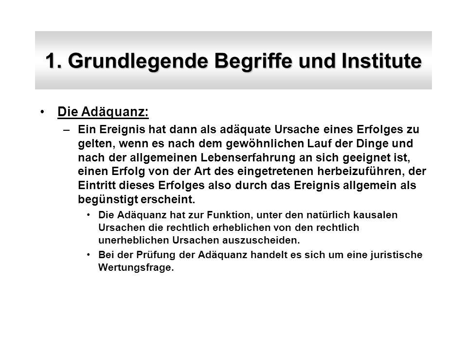 1. Grundlegende Begriffe und Institute Die Adäquanz: –Ein Ereignis hat dann als adäquate Ursache eines Erfolges zu gelten, wenn es nach dem gewöhnlich