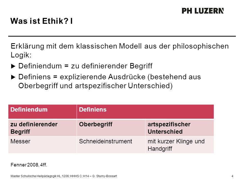 Was ist Ethik? I Erklärung mit dem klassischen Modell aus der philosophischen Logik:  Definiendum = zu definierender Begriff  Definiens = expliziere